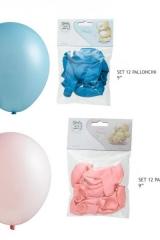 Set-12-palloncini-rosa-azzurri-celeste-articolo-decorativo-cerimonia-battesimo-nascita-compleanno-party-LP19