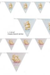 Set-18-bandierine-stampate-fronte-retro-disegno-orsetto-rosa-celeste-MT5.50-articolo-decorativo-nascita-battesimo-LP15