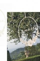 """Tondo metallo glitter con scritta """"Per sempre"""" e fiori. Diam. 20  Codice: BN28302"""
