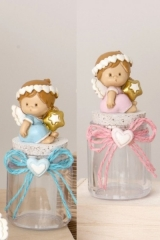 Barattolo plastica con angelo resina baby, rosa o azzurro. Ass 3. H 10  Codice- E049530