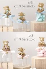 Barattolo vetro con soggetti resina baby, rosa o azzurri. Ass 3. H 10  Codice- E049512