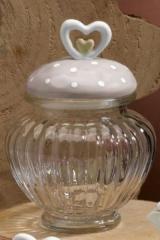 Barattolo vetro con tappo ceramica doppio cuore. H 14  Codice- PB77