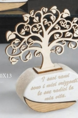 Profumatore resina e legno con dedica, scatolina pvc porta confetti interna e scatola. CM 10x13 MADE IN ITALY  Codice- ST1973519481-DC19480