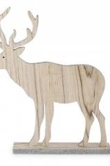 Sagoma-renna-cervo-decorativa-legno-d'appoggio-glitter argento