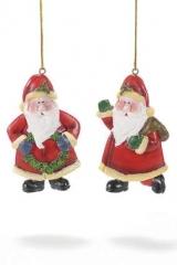 Babbo-Natale-addobbo-appendere-rosso-resina dura-articolo-decorativo-albero