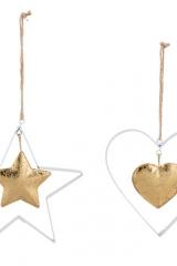 Appendono-Ciondolo-metallo-stella-cuore-decorazione-natalizia-albero-natale