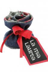 Sacchetto-portaconfetti-jeans-blu-rosso-Misura 7 cm Art.:1090