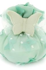 Sacchetto-portaconfetti-tiffany-verde-farfalla-farfalle-Misura 7x12x12 cm Art.:1100
