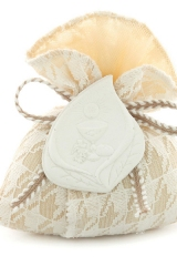 Sacchetto-portaconfetti-pied-de-poule-avorio-cipria-calla-Misura 9 x 11,5 cm Art.:1096