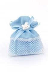 Sacchetto-bustina-portaconfetti-tessuto-impunturato-celeste-gesso-cavallo-CM12-Art.:0745