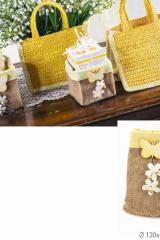 Saccotto-portaconfetti-bomboniera-juta-panno-giallo-tirante-applicazioni-legno-D12H15-GSBN23999