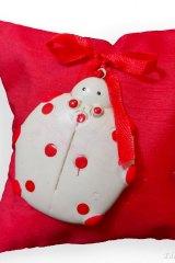 Sacchetto-portaconfetti-cuscino-saccotto-laurea, cresima, rosso-coccinella-Misura 11 x 11 cm Art.:ED-0736