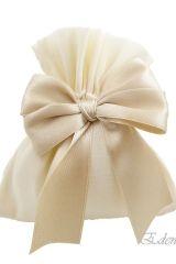 Sacchetto-portaconfetti-avorio-fiocco-matrimonio-comunione-cresima-Misura  cm Art.:0254