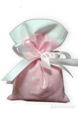 Sacchetto-portaconfetti-piatto-cuore-cuori-saccotto-nascita-battesimo-rosa-Misura 9x12 cm Art.: