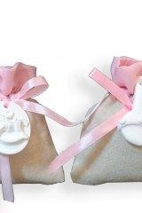 Sacchetto-portaconfetti-puffotto-saccotto-nascita-battesimo-rosa-gesso-Misura 11x9 cm