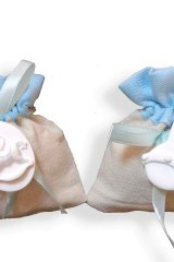 Sacchetto-portaconfetti-puffotto-saccotto-nascita-battesimo-celeste-gesso-Misura 11x9 cm