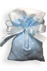 Sacchetto-portaconfetti-piatto-cuore-cuori-saccotto-nascita-battesimo-celeste-Misura 9x12 cm Art.: