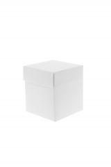Scatola astuccio in cartone effetto lino bianco. Fondo con coperchio automontate. Misure:7x7x11.Cod.17S71553