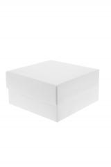 Scatola astuccio in cartone effetto lino bianco. Fondo con coperchio automontate. Misure:10x10x6.Cod.1715271560