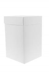 Scatola astuccio in cartone effetto lino bianco. Fondo con coperchio automontate. Misure:12x12x19.Cod.1715271569