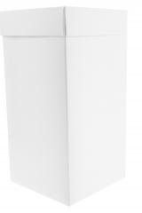 Scatola astuccio in cartone effetto lino bianco. Fondo con coperchio automontate. Misure:12x12x24.Cod.1715271570