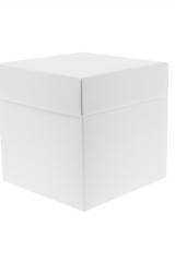 Scatola astuccio in cartone effetto lino bianco. Fondo con coperchio automontate. Misure:14x14x14.Cod.1715271573