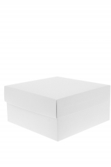 Scatola astuccio in cartone effetto lino bianco. Fondo con coperchio automontate. Misure:14x14x18.Cod.1715271571