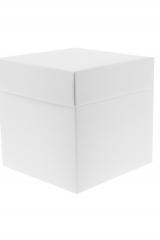 Scatola astuccio in cartone effetto lino bianco. Fondo con coperchio automontate. Misure:16,5x16,5x14.Cod.1715271576