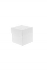 Scatola astuccio in cartone effetto lino bianco. Fondo con coperchio automontate. Misure:7x7x7.Cod.1715271552