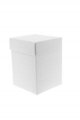 Scatola astuccio in cartone effetto lino bianco. Fondo con coperchio automontate. Misure:8x8x13.Cod.1715271556
