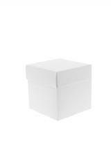 Scatola astuccio in cartone effetto lino bianco. Fondo con coperchio automontate. Misure:8x8x9.Cod.1715271555