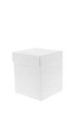 Scatola astuccio in cartone effetto lino bianco. Fondo con coperchio automontate. Misure:9x9x9.Cod.1715271557
