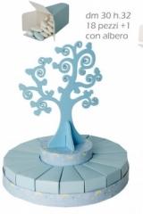 Torta-18-fette-scatoline-scatolina-cartoncino-albero-centrale-legno-sagoma-Diam.30H32-bomboniera-portaconfetti-segnaposto-matrimonio-comunione-cresima-battesimo-Art.:SC442
