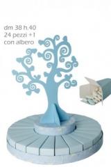 Torta-24-fette-scatoline-scatolina-cartoncino-albero-centrale-legno-sagoma-Diam.38H40-bomboniera-portaconfetti-segnaposto-matrimonio-comunione-cresima-battesimo