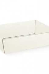 Vassoio, cesto in cartoncino  bianco. CM 29x21 H 9  Codice: S36502